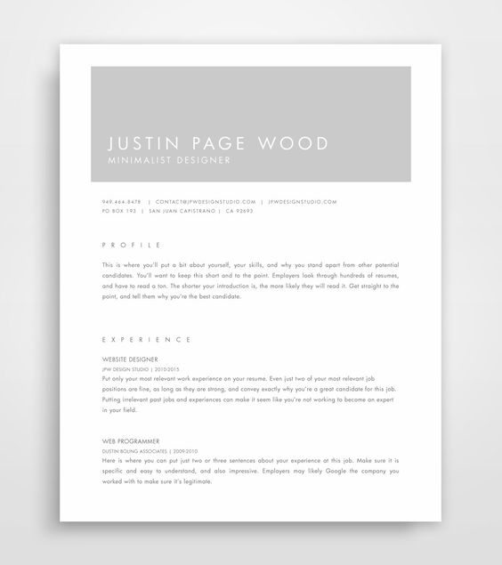 One Page Resume Template Word Resume Cover by ResumeTemplateStart - 1 page resume template