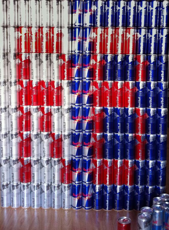 Red Bull can mosaic