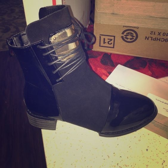 Black boots Black dressy booties. Has a little Bit of suede in the middle and gold on top. Nice to wear with jeans and pants! They're never been worn Shoes Ankle Boots & Booties