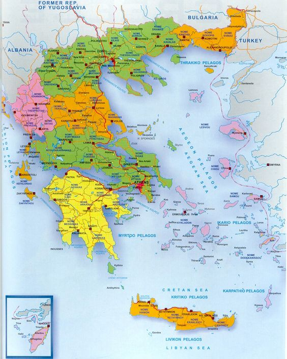 A Map of GREECE and the GREEK  ISLANDS.