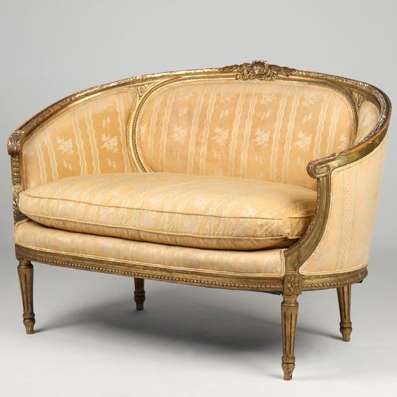 French louis xvi style antique settee canape loveseat sofa vintage pinter - Sofa canape difference ...