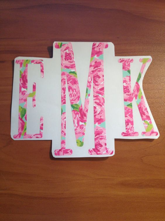 LILLY P Inspired Monogrammed Decal