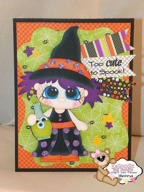 Theresa's Crafty Creations KaDoodle Bug Designs Halloween Card Fall Season Witch Doodlebug Designs Holiday