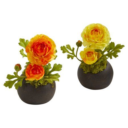 Ranunculus Artificial Arrangement Set Of 2 Orange Artificial Flowers Artificial Flower Arrangements Fake Plants Decor