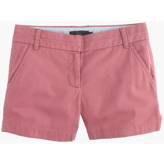 "J.Crew 4"" Chino Short ($52) ❤ liked on Polyvore featuring shorts, zipper shorts, chino shorts, rainbow shorts, j. crew shorts and long shorts"