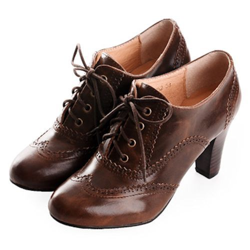 Ladies Chocolate High Heel Lace Up Retro Vintage Inspired Boho Shoes SKU-1090642: