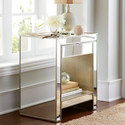 Alexa Mirrored Nightstand Dresser, Home Goods Mirrored Side Table