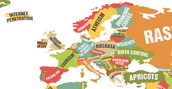 Europe.   This Map Showing What Each Country Leads The World In Is Really Quite Cool #mapgeek @BadgerMaps