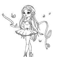 Desenho de Menina dançando balé para colorir