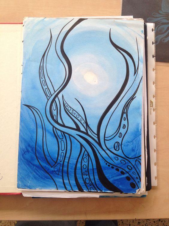 1B waterplanten / boom / struik op aquarel degrade