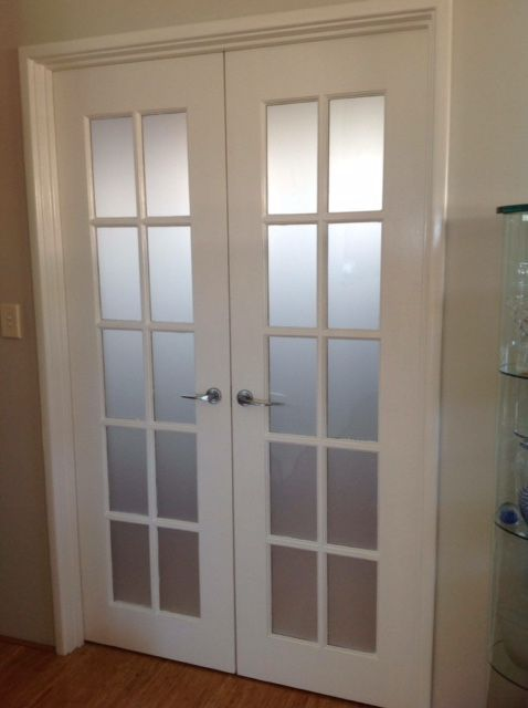 French Door With Frosted Window Film Added For Privacy Great When You Want To Convert A Room To A Be French Doors Interior French Doors Bedroom Bedroom Doors