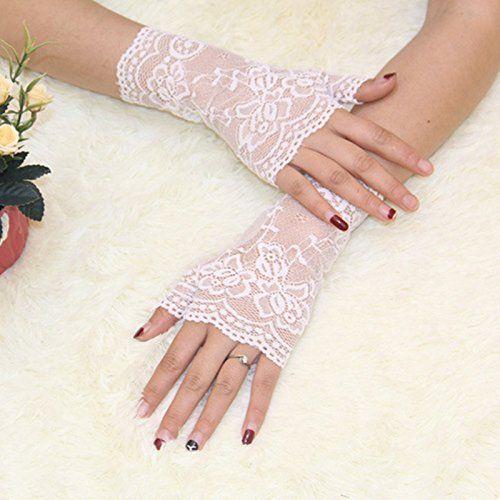 URSFUR Frauen Sch/öne elegante Spitze Sonnenschutz Handschuhe Fahrradhandschuhe Brauthandschuhe mit Blumen und Schmetterling