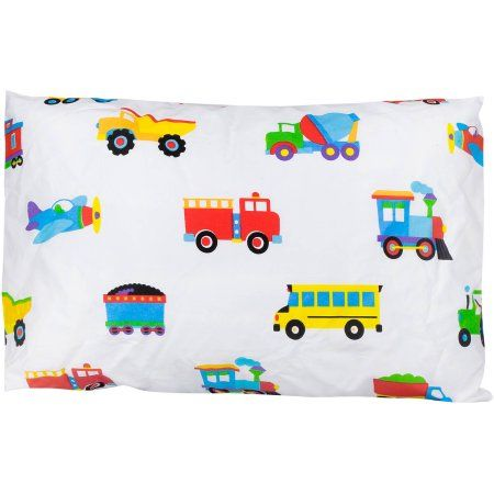 Olive Kids Trains, Planes, Trucks 13-1/2 inch x 19 inch Hypoallergenic Toddler Pillowcase, Multicolor