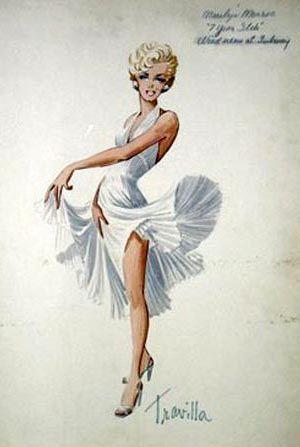 Croquis - Film - Travilla - 7 Ans de Réflexion - Marylin Monroe - 1955
