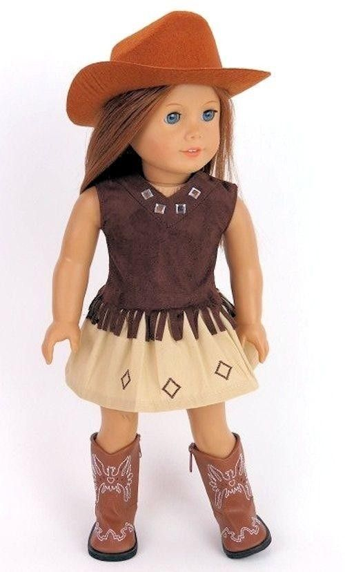 Western Skirt Set /& Boots for 18 inch American Girl Doll Clothes Cowboy Hat
