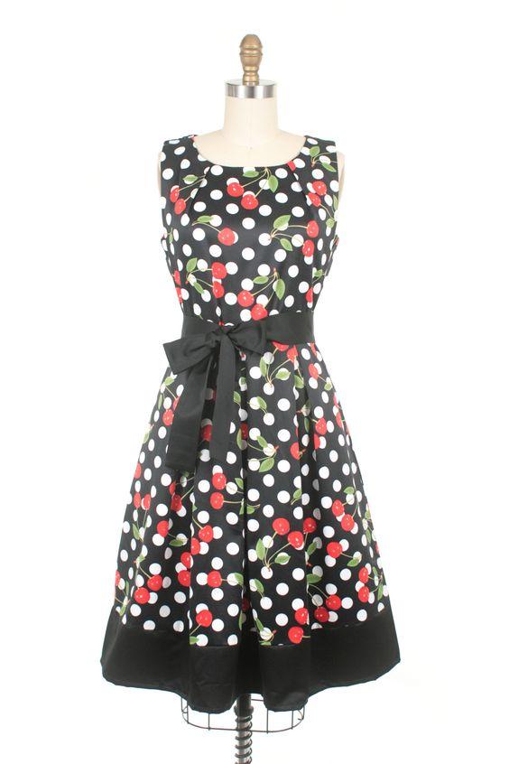 Cherry Dress in Black