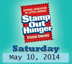 REMINDER TOMORROW: STAMP OUT HUNGER Food Drive!!! Saturday May 10, 2014 @StampOutHunger @Feeding America @No Kid Hungry - Share Our Strength PLEASE SHARE!! #StopDropDonate #StampOutHunger ~on CouponCrazyFreebieFanatic.com