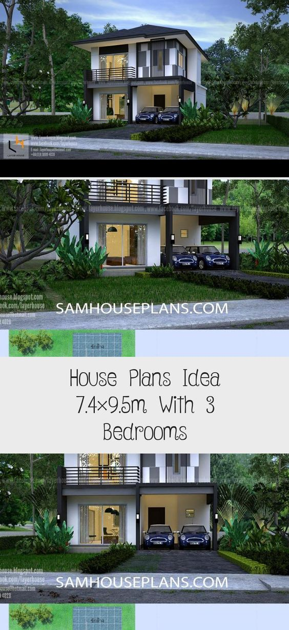 House Plans Idea 7 4 9 5m With 3 Bedrooms In 2020 House Plans Modern House Plans Open Floor