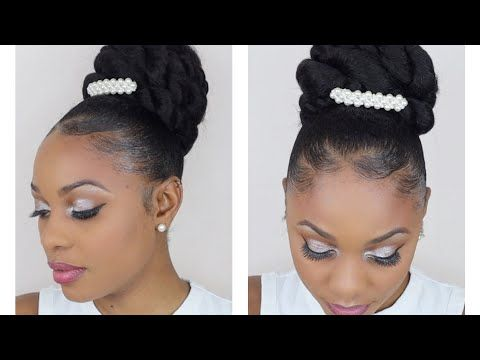 Easy Bridal Wedding Bun Updo Protective Styles Youtube Simple Wedding Hairstyles Natural Hair Styles Wedding Bun Updo