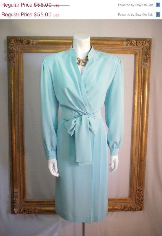 Jahrgang 1980 Lilli Ann Petites Pastell blau Kleid von thebazarhome