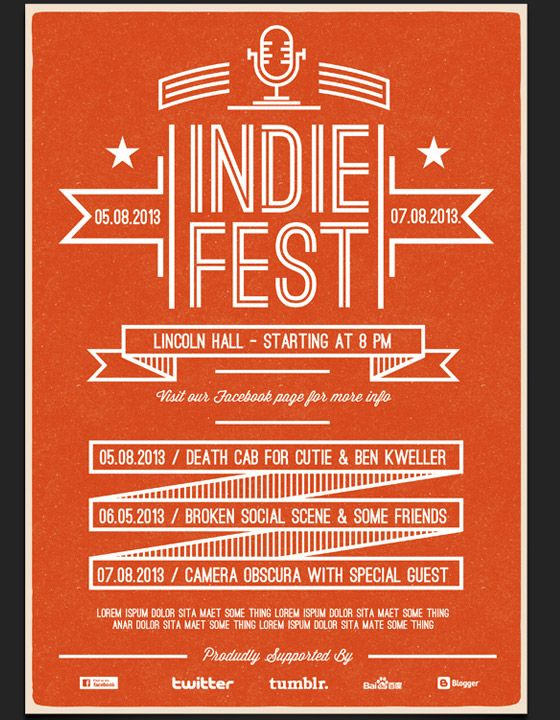 Indie Fest Flyer Template   PSD TEMPLATES   Pinterest   Flyer ...