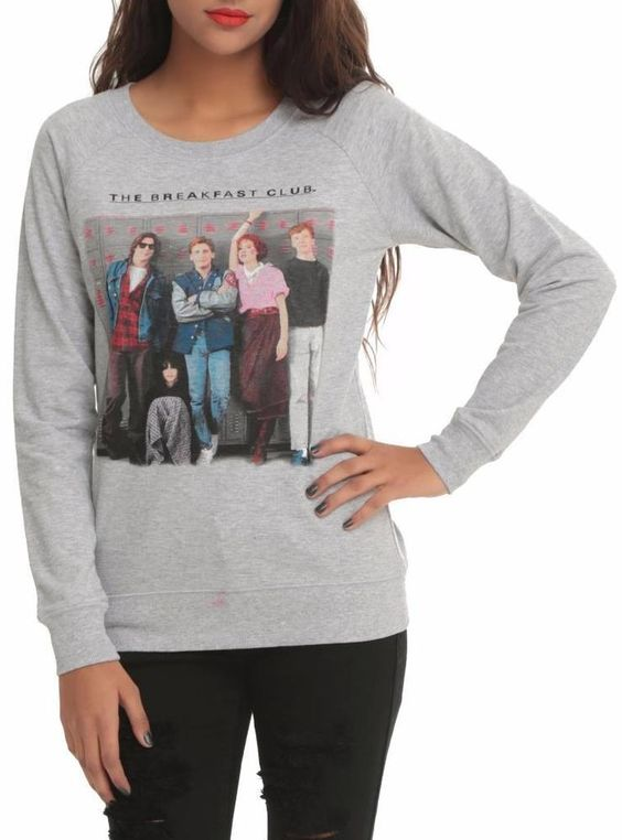 The Breakfast Club Size L Group Photo Locker Pose Gray Pullover Top - NWT…