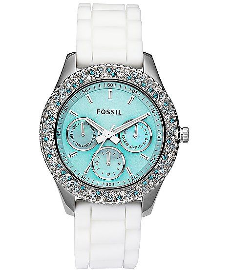 fossil: white and tiffany blue watch.