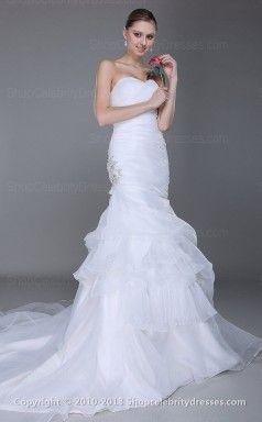Vestidos Trompete / Sereia Querida Andar de comprimento Organza Branca de casamento (SCW195)