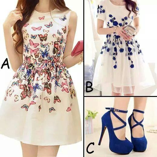 Lindo vestido con zapatos azules