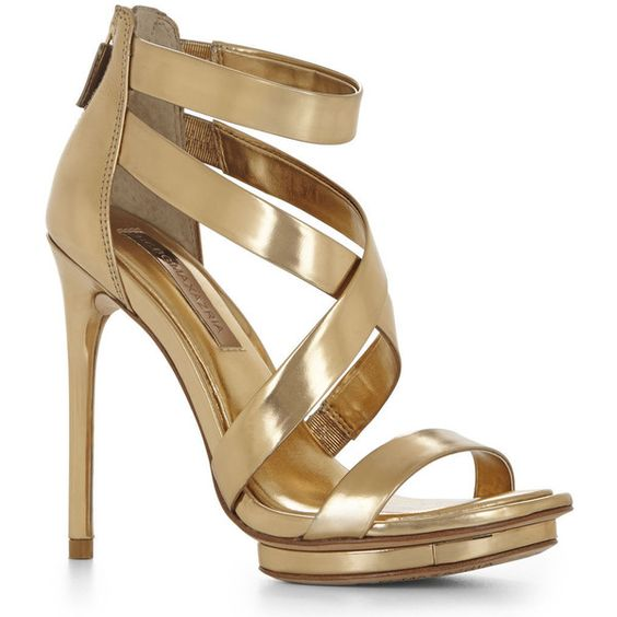 BCBGMAXAZRIA Leemour Strappy High-Heel Sandal ($113) found on Polyvore featuring shoes, sandals, heels, sapatos, high heels, gold, high heel sandals, leather strap sandals, high heel shoes and heeled sandals