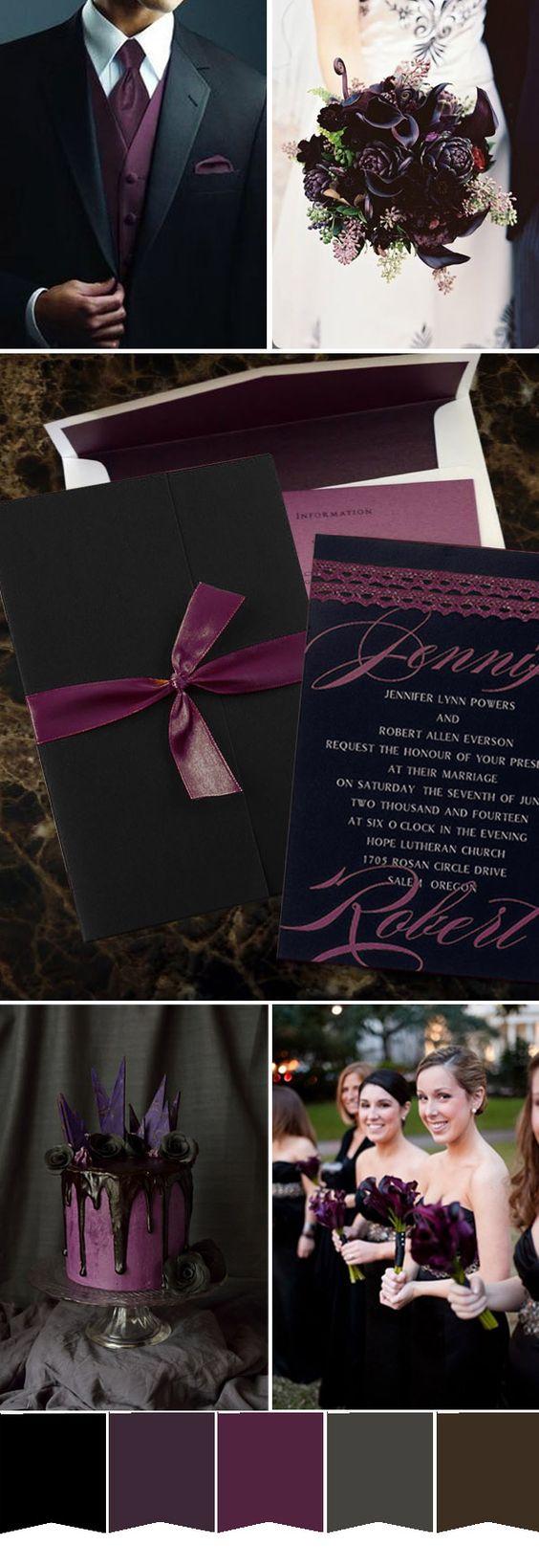 dark purple and black wedding color ideas and wedding invitations