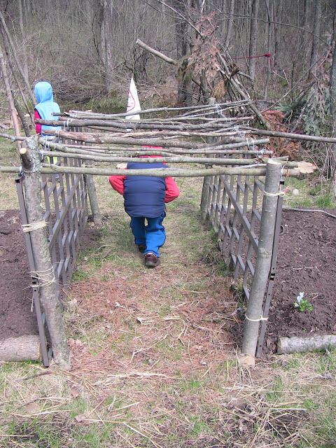 """Simple and Joyful: Garden Musing: Childrens Garden- check out the soon to be covered in vines """"tunnel""""...love this idea"""