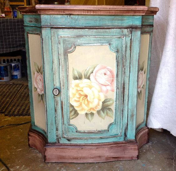 Vintage cabinet 200.00 distressed and painted with General Finishes milk paint