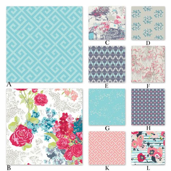 Pink Aqua and Gray Floral Custom Crib and Baby by RockyTopDesign