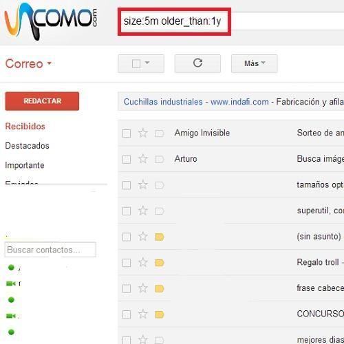 Cómo encontrar un correo electrónico por peso y fecha en GMail