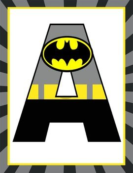 Super hero classroom decor batman banner letters for Party wall letter template
