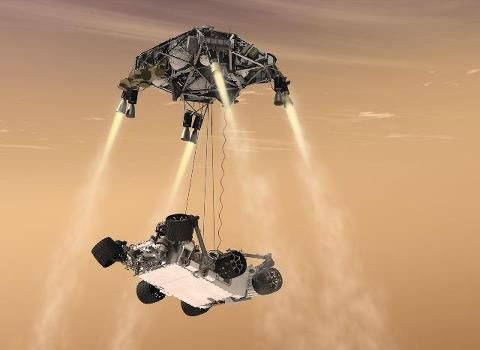 """Mars Curiosity rover scheduled to land via """"skycrane"""" - what some scientists are calling """"7 minutes of terror"""" - on August 5."""