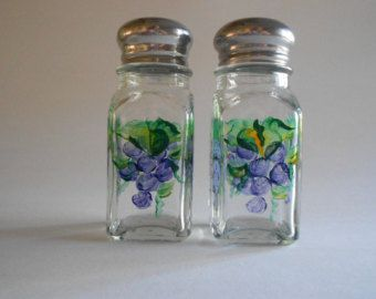 Purple Grapes Salt and Pepper Shakers Hand Painted Clear Glass Square.