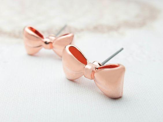 Rose Gold Bow Earrings Rose gold earrings Cute by SeablueBoutique, $14.00