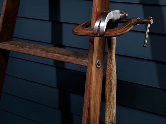 C-Clamp Hammer Holder by popularmechanics, 1957: Keep your hammer safely at hand. #Ladder #Hammer #popularmechanics