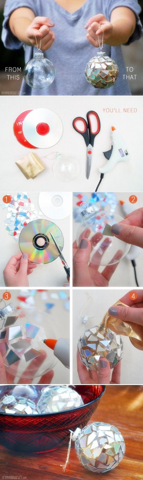DIY: Mosaic Ornaments from CDs: