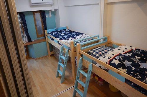 3畳の子供部屋にロフトベッド 狭い子供部屋の間取 レイアウト 収納 間仕切りドアなど さくらこマンション 狭い 子供部屋 ロフトベッド 収納 間仕切り