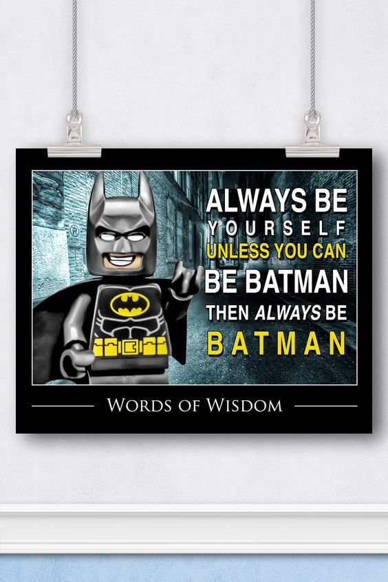 In Stock FREE Shipping For Orders Over $30 - Details - Reviews - Shipping Batman, proudly proclaims his superhero mantra! The Dark Knight is sharing some words of wisdom, with a positive message about