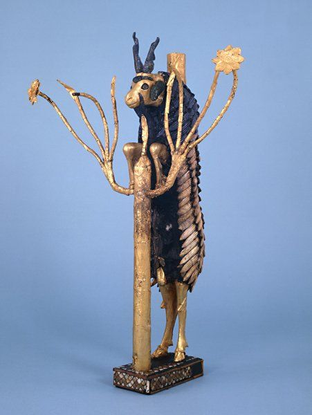 The 'Ram in a Thicket' (British Museum, Room 56: Mesopotamia)  2600 - 2400 BC.  From Ur, southern Iraq.  One of an almost identical pair discovered in the Royal Cemetary at Ur.  Wooden core with gold, gold leaf, copper, lapis lazuli, shell and red limestone.  http://www.britishmuseum.org/explore/highlights/highlight_objects/me/t/the_ram_in_a_thicket.aspx