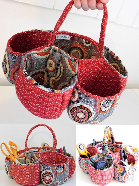 """Honeycomb basket is back in stock. You can use it in your craft room, bathroom or anywhere around the home. It has 6 individually shaped pockets arranged around a central compartment and a sturdy handle making it portable. The finished size 5"""" x 14"""" and the skill level required is Experienced. However full colour illustrations are provided at all stages to help."""