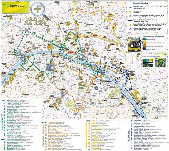 Paris top tourist attractions map Open top double decker bus tour:
