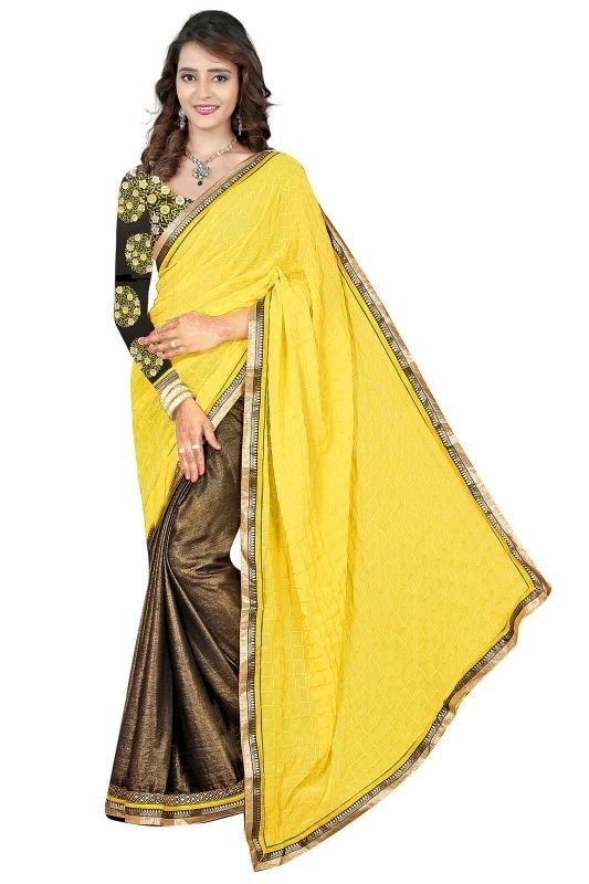 Yellow Colour 60gm Chiffon Coating 60gm Dyed Party Wear Saree Buy Sarees