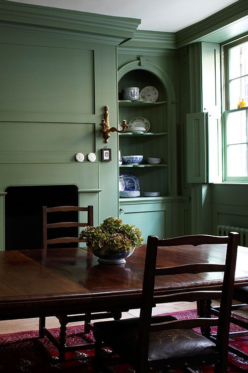 Olive Green Everything   English interior  Farrow ball and Green dining room. Olive Green Everything   English interior  Farrow ball and Green