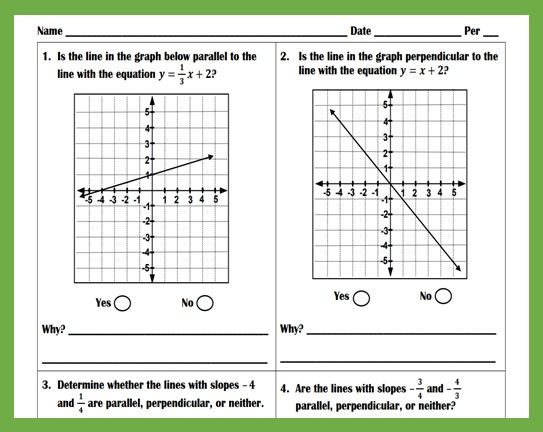 Slope Of Parallel And Perpendicular Lines Worksheet Parallel And Perpendicular Lines Perpendicular Parallel