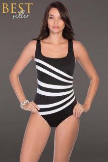 Longitude Colorblock Banded Fan One Piece Swimsuit: